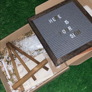 Double sided letter board and chalkboard